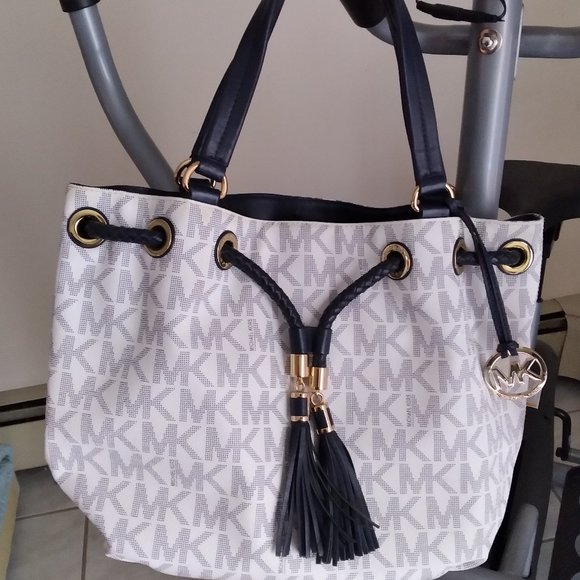 Michael Kors Navy blue and white signature bag